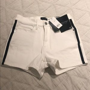 "3"" high rise white jean shorts"